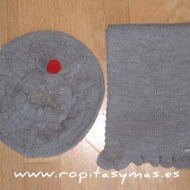 Boina y bufanda de punto   gris condor