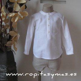 Camisa ML blanca pespunte arena de Ancar, verano 2015