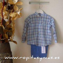 Conjunto camisa a cuadros azul y blanca y pantalon azul de Ancar, verano 2015