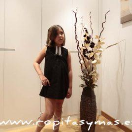 Vestido  plumeti negro evasé  ANCAR, verano 2016