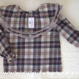 Camisa doble cuello MANUELA CUADRO GRIS de NUECESKIDS, invierno 2016