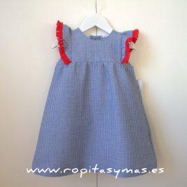 Vestido flecos  azul  y rojo de  ANCAR, verano 2017