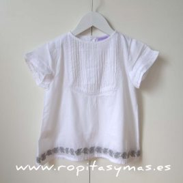 Blusa  blanca detalles grises de ancar verano 2015