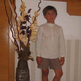 Camisa cuello mao rayas beiges y crudas de Condor, verano 2014
