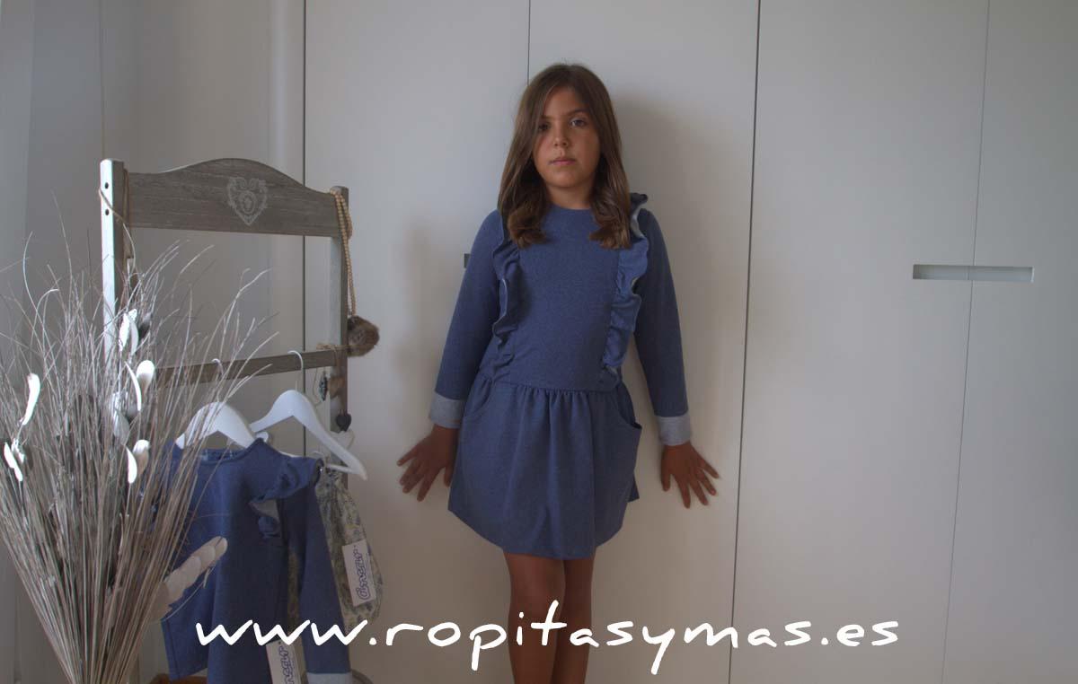 Vestido azul volantes de Ancar