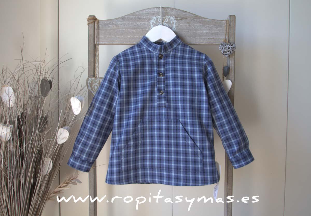 Camisa escocesa azul mao de Ancar