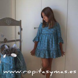 Vestido FABIOLA azul de NUECESKIDS, invierno 2017