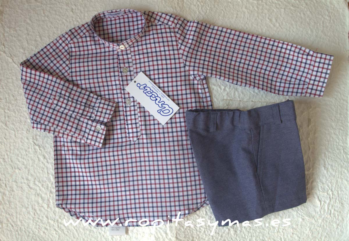 Camisa cuadros burdeos y azul de Ancar