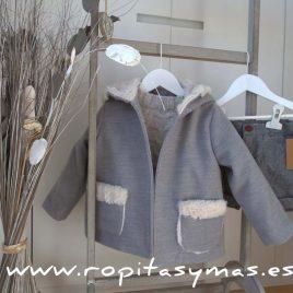 Abrigo paño y borrego gris de MIA Y LIA, invierno 2017