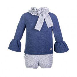 Conjunto azul jaspeado bombacho de EVE CHILDREN, invierno 2017