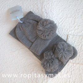 Conjunto gorro, manoplas y bufanda gris pompón DORIAN-GRAY, invierno 2017