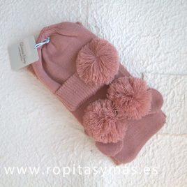 Conjunto gorro, manoplas y bufanda rosa pompón DORIAN-GRAY, invierno 2017