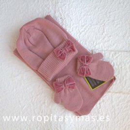 Conjunto gorro, manoplas y bufanda rosa lazo DORIAN-GRAY, invierno 2017