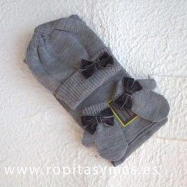 Conjunto gorro, manoplas y bufanda gris lazo DORIAN-GRAY, invierno 2017