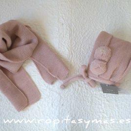Capota y bufanda bebé  rosa de NUECESKIDS, invierno 2017