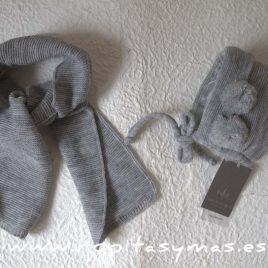 Capota y bufanda bebé gris de NUECESKIDS, invierno 2017