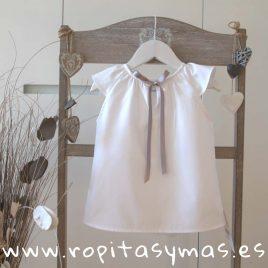 Camisa  blanca lazo gris de ancar, verano 2018
