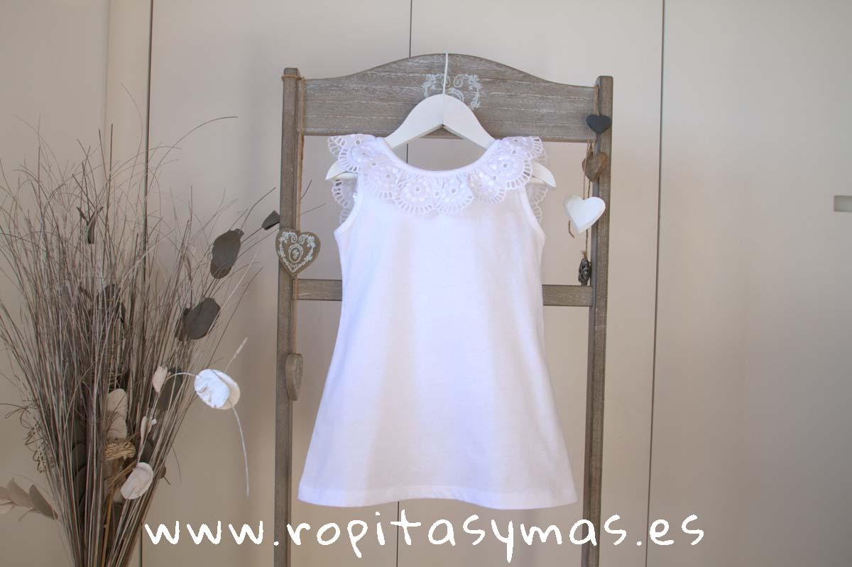 Vestido blanco volante encaje de ANCAR
