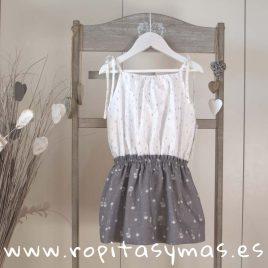 Vestido camisero blanco y gris de ANCAR, verano 2018