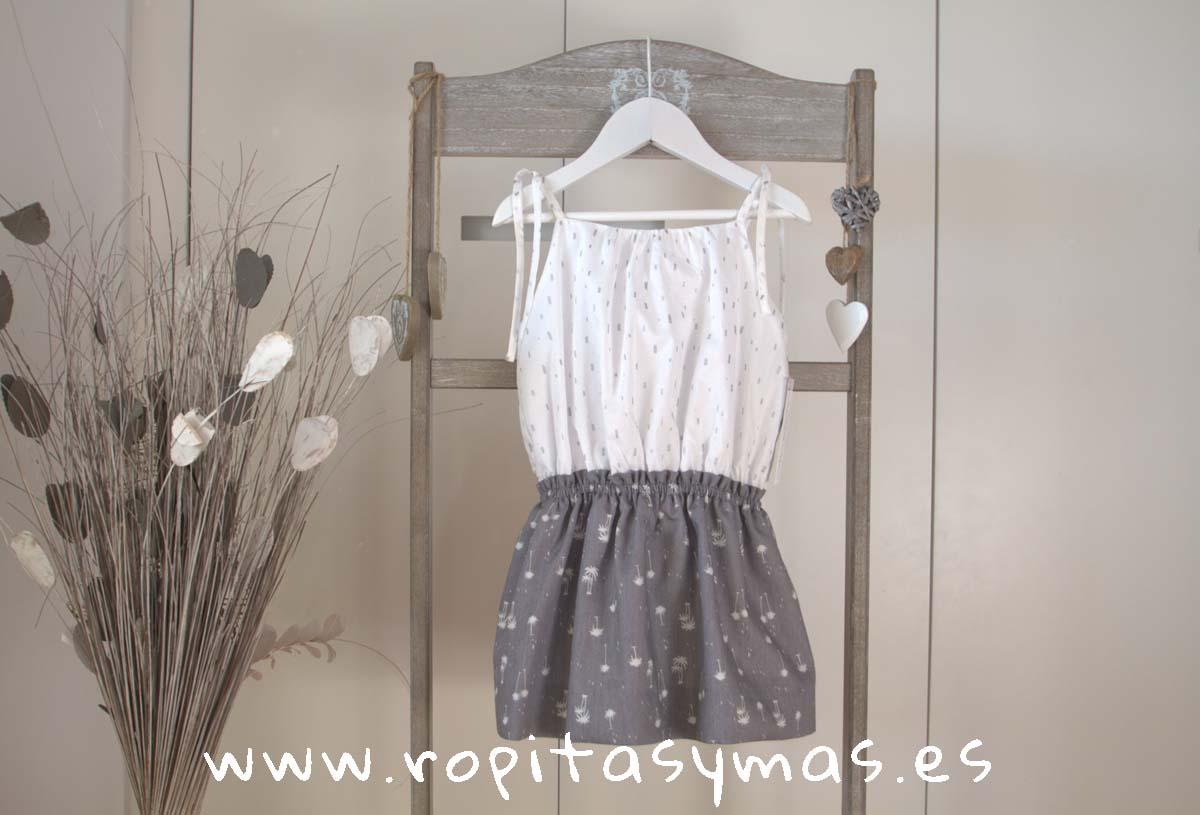 Vestido camisero blanco y gris de ANCAR