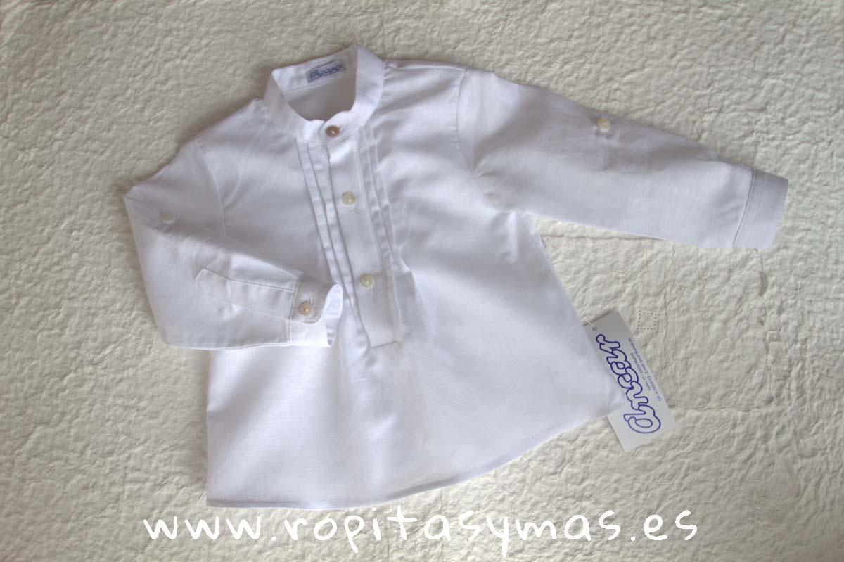 Camisa pliegues blanca lino de ANCAR