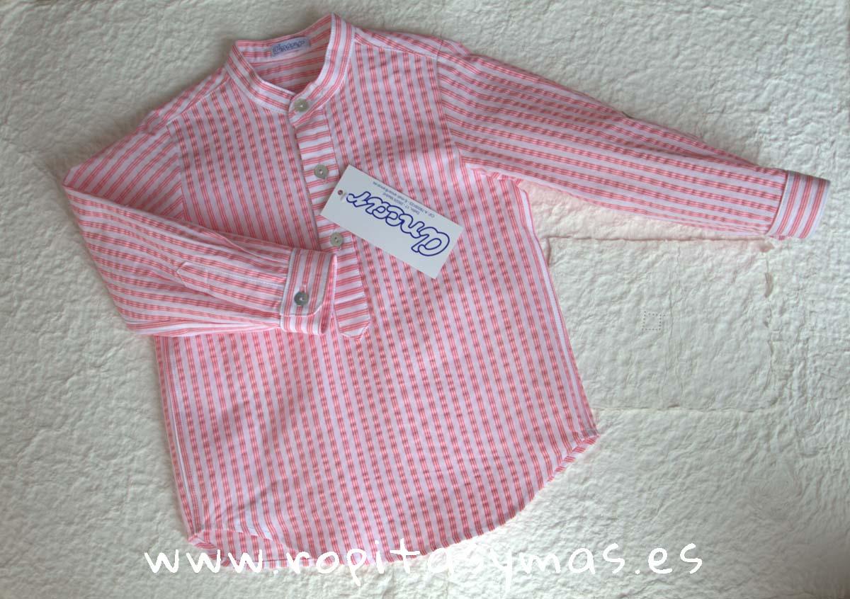 Camisa mao rayas coral de Ancar