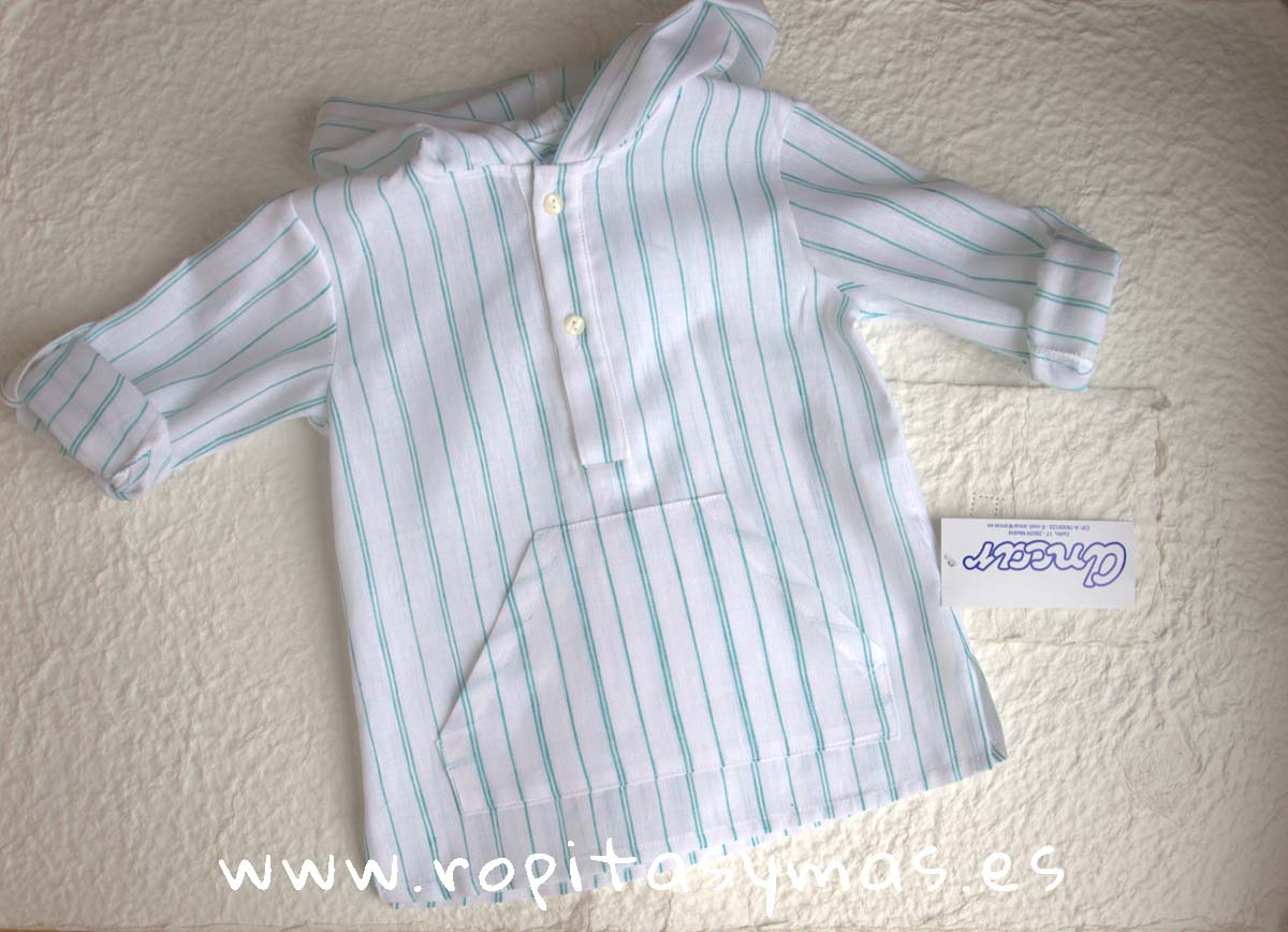 Camisa capucha rayas verdes de Ancar