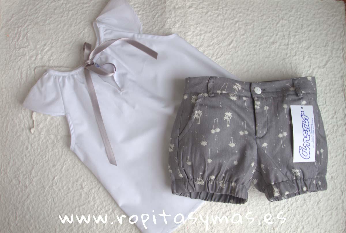 Camisa blanca lazo gris y Short gris palmera de ANCAR