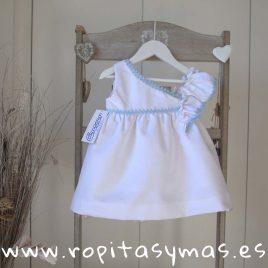 Vestido escote  asimétrico blanco y azul de ANCAR, verano 2018