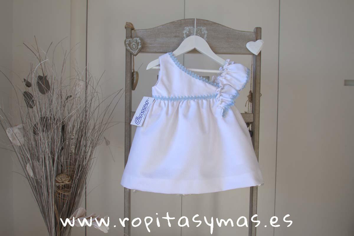 Vestido escote asimétrico blanco y azul de ANCAR