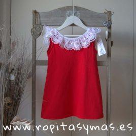 Vestido rojo volante encaje de ANCAR, verano 2018