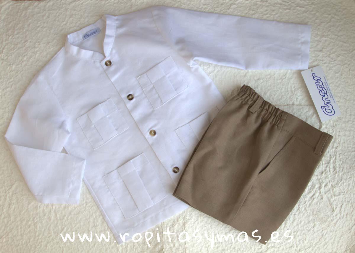 Camisa lino mao y bolsillos y Pantalón corto topo de Ancar