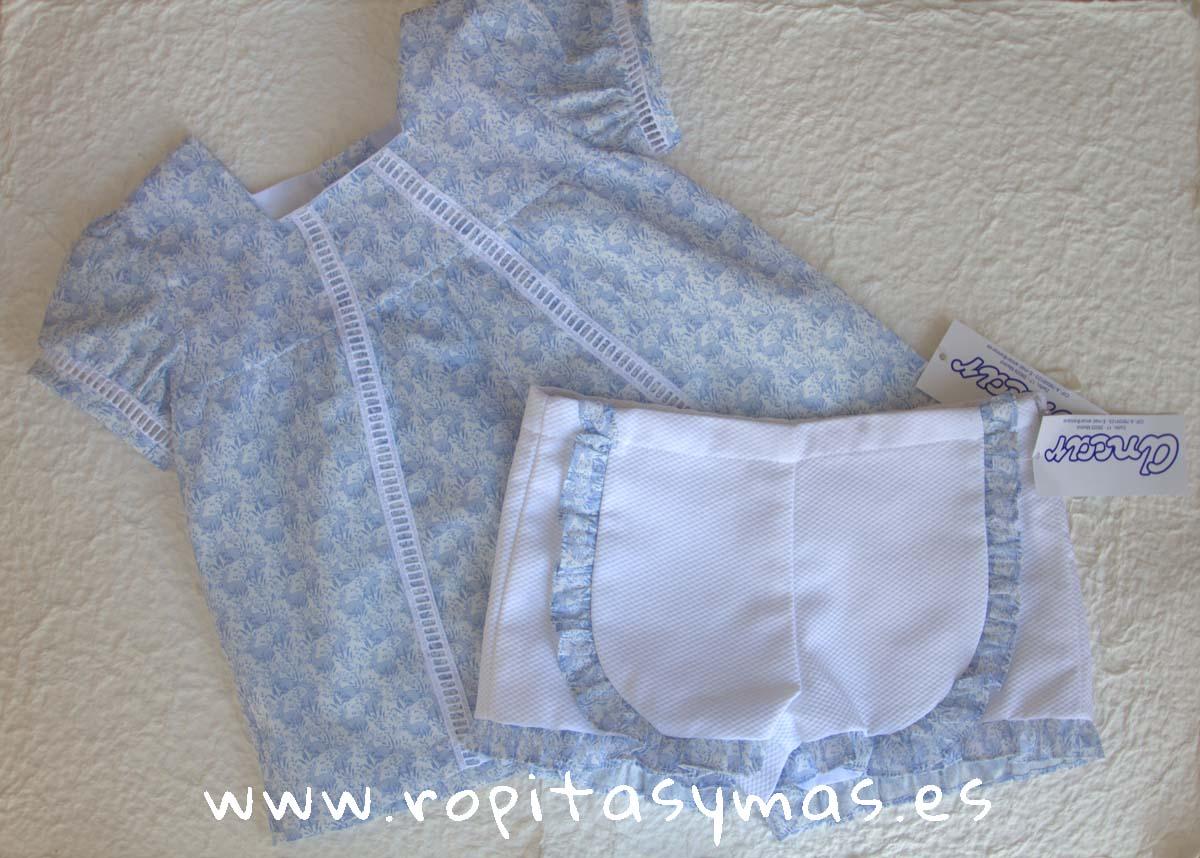 Camisa lencera conejitos y Short lencero pique blanco de Ancar