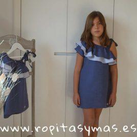 Vestido griego azul oscuro y rayas PALERMO de EVE CHILDREN, verano 2018