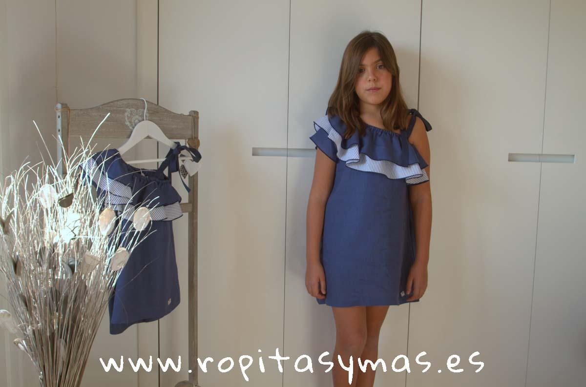 Vestido griego azul oscuro y rayas PALERMO de EVE CHILDREN