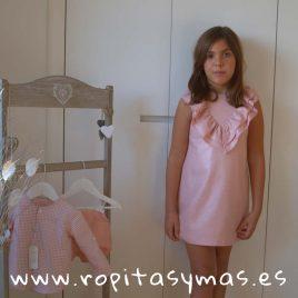 Vestido doble cuello entramado rosa VINTTAGE de EVE CHILDREN, verano 2018
