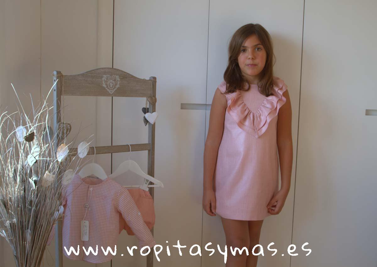 Vestido doble cuello entramado rosa VINTTAGE de EVE CHILDREN