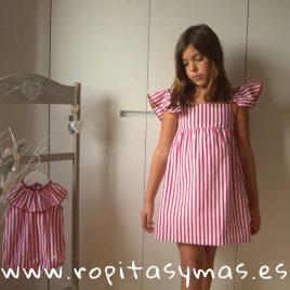 Vestido mangas mariposa rayas carmesí de EVE CHILDREN, verano 2018
