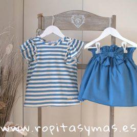 Conjunto falda rayas azulonas FISHER de EVE CHILDREN, verano 2018