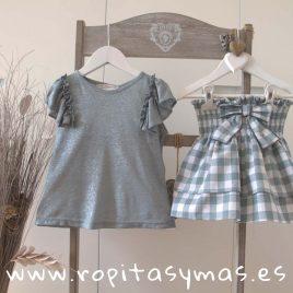 Conjunto falda cuadros verdes SMOKE de EVE CHILDREN, verano 2018