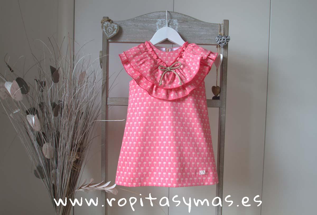 Vestido doble cuello palmeras coral de EVE CHILDREN