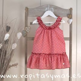 Vestido tirantes plumeti oxford carmesí de EVE CHILDREN, verano 2018