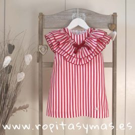 Vestido doble cuello rayas carmesí de EVE CHILDREN, verano 2018