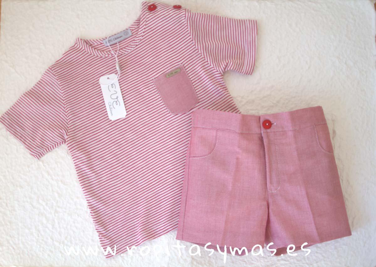 Conjunto niño camiseta rayas carmesí de EVE CHILDREN