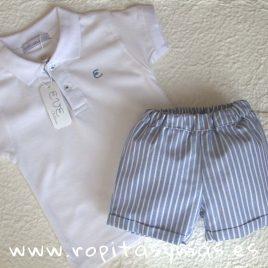 Conjunto niño pantalón rayas blancas y azul oxford PALERMO de EVE CHILDREN, verano 2018