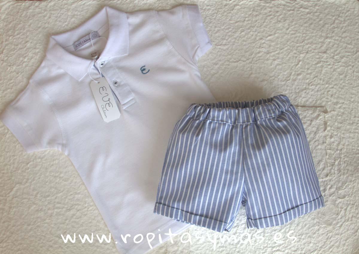 Conjunto niño pantalón rayas blancas y azul oxford PALERMO de EVE CHILDREN