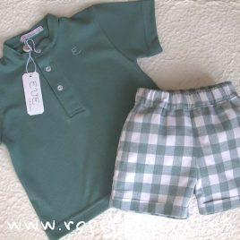 Conjunto niño pantalón cuadros verdes SMOKE de EVE CHILDREN, verano 2018