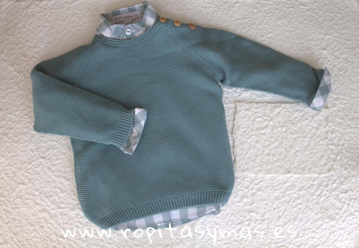 Conjunto niño cuadros verdes y jersey SMOKE de EVE CHILDREN