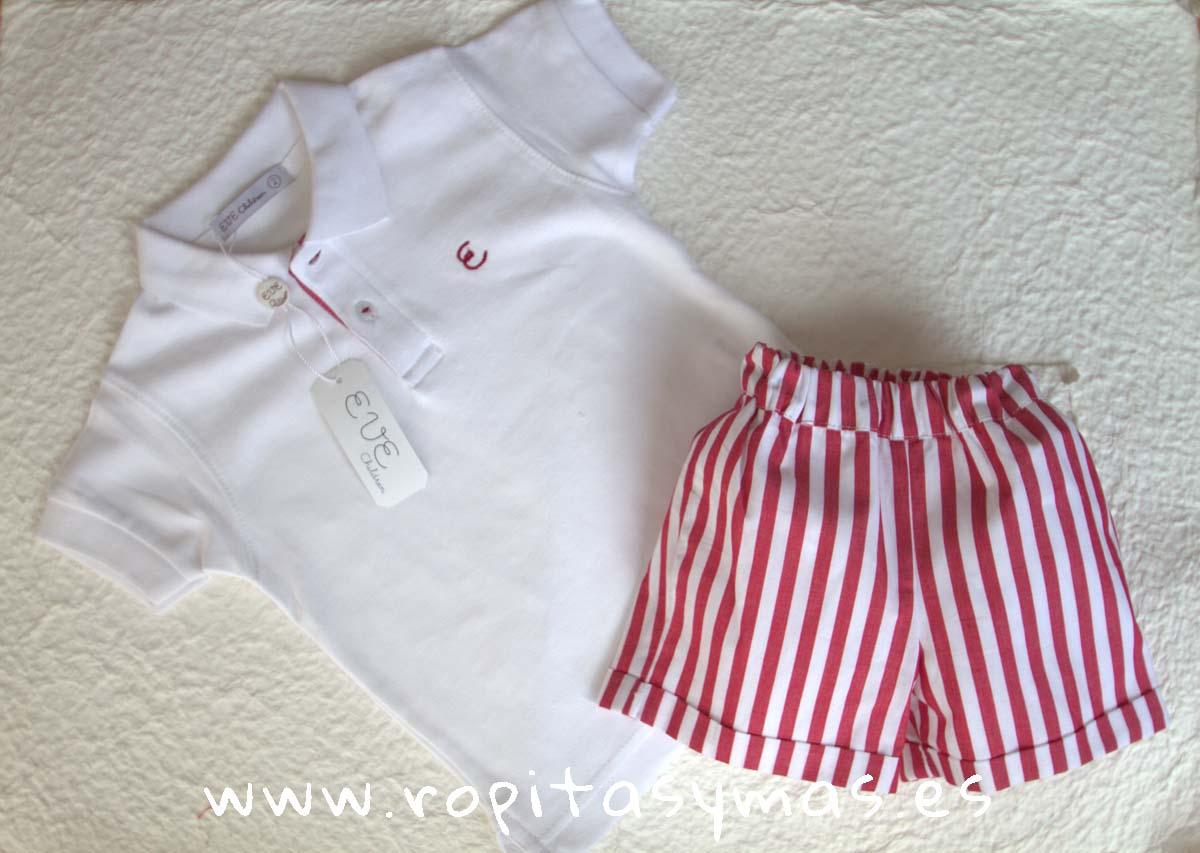 8972a6dbf9a88 Conjunto niño pantalón rayas carmesí de EVE CHILDREN