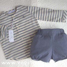 Conjunto bebé rayas gris azulado Piuma de EVE CHILDREN, verano 2018